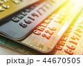 Gold and platinum credit cards close up 44670505
