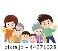 家族 春服 犬のイラスト 44671028