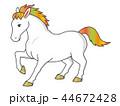 白馬 馬 動物のイラスト 44672428