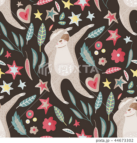 Seamless pattern with sloths in flat style. 44673302