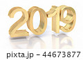 3D Gold Metal 2019 on White 44673877