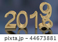 3D Gold Metal 2019 on Gray Background 44673881
