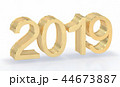 3D Gold Metal 2019 on White Background 44673887