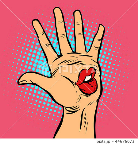kiss lips mouth emotion, hi five hand gesture 44676073