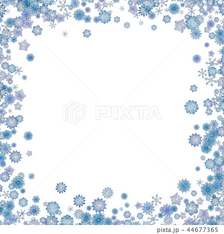 christmas border background with cute blue snowflakesのイラスト素材