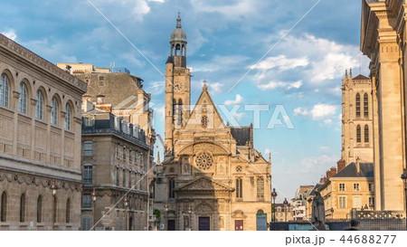 Church of Saint-Etienne-du-Mont timelapse in Paris near Pantheon. 44688277