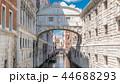 Gondolas floating on canal towards Bridge of Sighs timelapse Ponte dei Sospiri . Venice, Italy 44688293