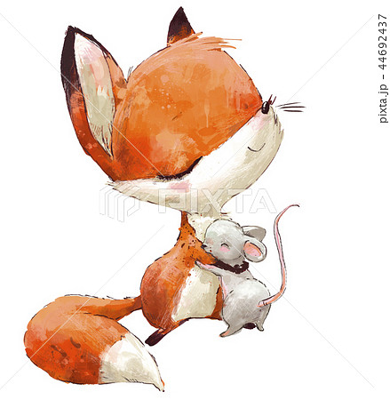 Little Cute watercolor lovely fox with mouse 44692437