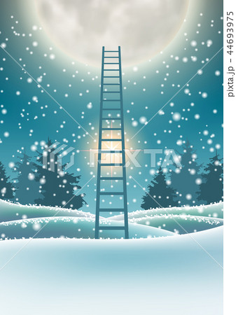 Snowy forest with big moon and abstract ladder 44693975