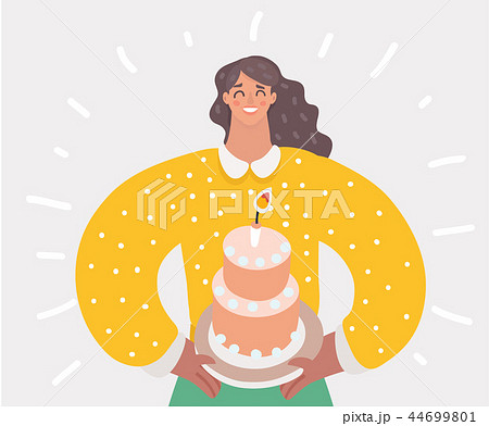 Mother holding first birthday cake with one candle 44699801