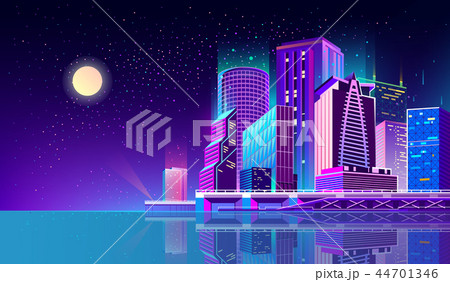 Vector background with night city in neon lights 44701346