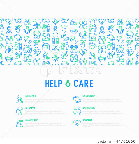 Help and care concept with thin line icons 44701650