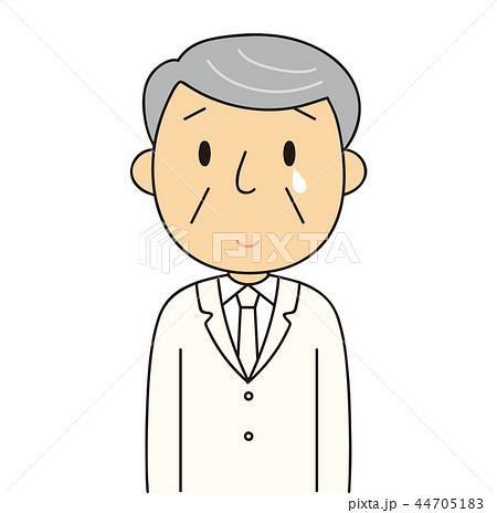 44705183 男性 シニア 微笑みを浮かべ泣いているおじいちゃん 白いスーツ 冠婚葬祭