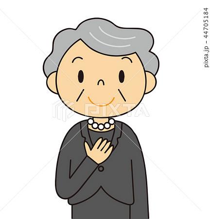 44705184 女性 シニア 喪服のおばあちゃん 笑顔 冠婚葬祭