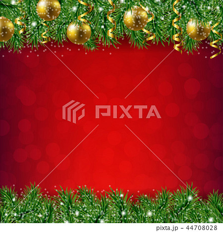 Fir Tree Border With Red Background 44708028
