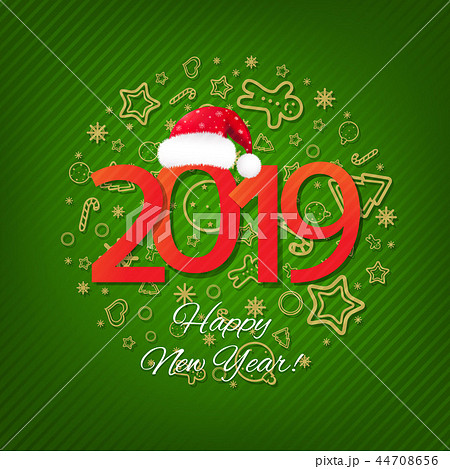 Green New Year Card 44708656
