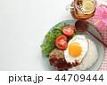 ロコモコ ワンプレート料理 白バックの写真 44709444