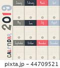 2019 カレンダー 暦のイラスト 44709521