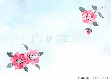 和風はがきテンプレート 椿彩墨画 水彩背景 横 44709721