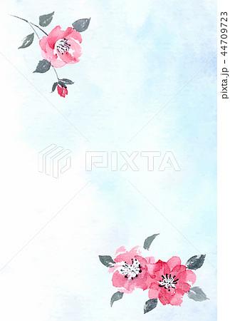 和風はがきテンプレート 椿彩墨画 水彩背景 縦 44709723