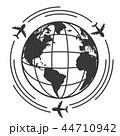 世界 地球 飛行機のイラスト 44710942