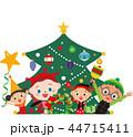 クリスマスツリー ベクター 笑顔のイラスト 44715411