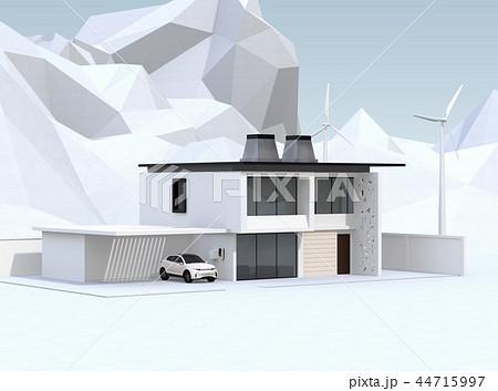 風力発電機があるスマートホームのガレージに充電している電動SUVのイメージ 44715997