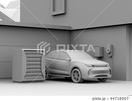 EV使用済みのバッテリー再利用リユースシステムでEVや家に電力供給するクレイレンダリングイメージ 44716007