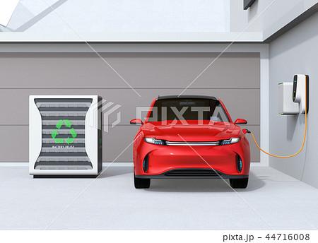 EV使用済みのバッテリー再利用リユースシステムで電気自動車や家に電力供給するコンセプト 44716008
