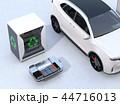 EV使用済みのバッテリー再利用システム、車用バッテリーのカットモデル、電動SUVのイメージ 44716013