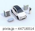 EV使用済み電池再利用システム、車用電池のカットモデル、急速充電器と電動SUVのイメージ 44716014