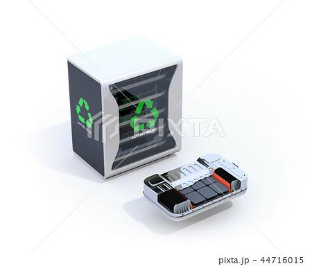 白バックにEV使用済み電池再利用システムと車用電池カットモデルのイメージ 44716015