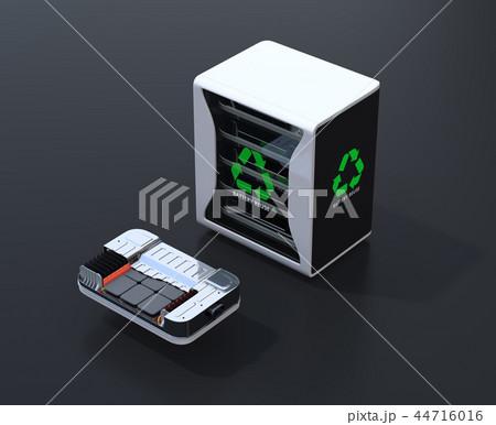 黒バックにEV使用済み電池再利用システムと車用電池カットモデルのイメージ 44716016