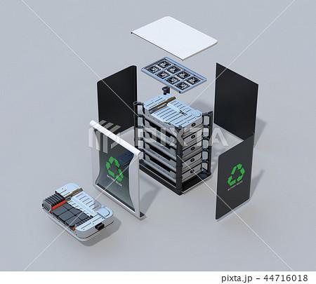 EV使用済みバッテリー再利用システムの分解立体図 44716018