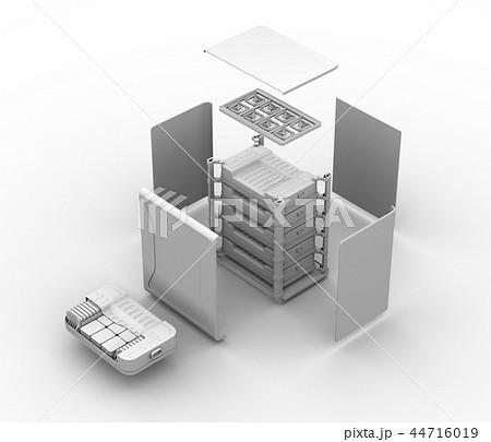 EV使用済みバッテリー再利用システムの分解立体図のクレイシェーディングイメージ 44716019