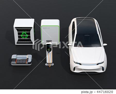 EV使用済み電池再利用システム、車用電池のカットモデル、急速充電器と電動SUVのイメージ 44716020