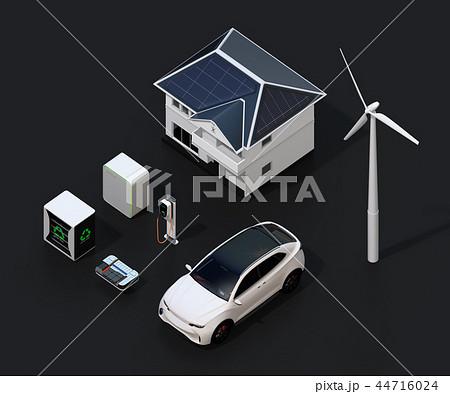 太陽光発電、風力発電、EV電池再利用、電気自動車及び充電設備の再生可能エネルギーのネットワーク 44716024