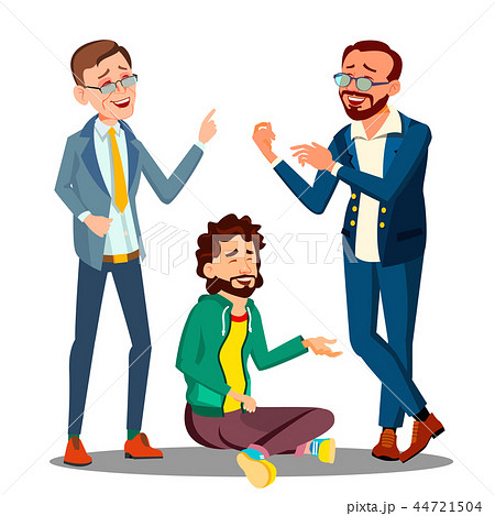 Creative Approach, Man In Casual Clothes Sitting On Floor Among Businessmen In Suits Vector 44721504