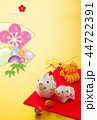 年賀状 猪 鶴のイラスト 44722391
