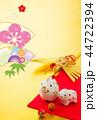 年賀状 猪 鶴のイラスト 44722394