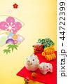 年賀状 猪 親子のイラスト 44722399