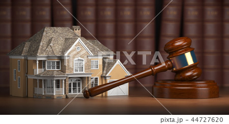 House with gavel and law books.  Real estate law  44727620