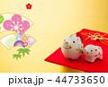 年賀状 猪 鶴のイラスト 44733650