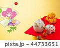 年賀状 猪 親子のイラスト 44733651