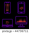 Violet neon technology icons on black background 44736711