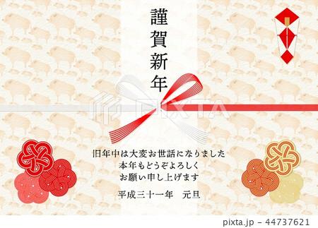 年賀2019亥水引熨斗背景 44737621