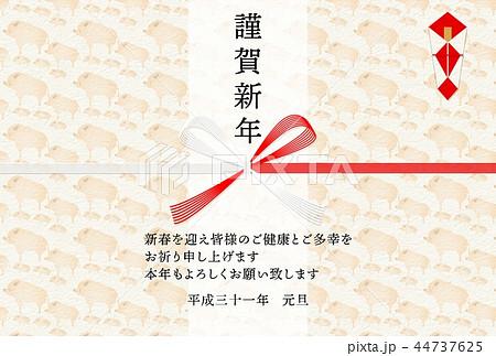 年賀2019亥水引熨斗背景 44737625