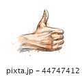 Hand showing symbol Like. Making thumb up gesture 44747412