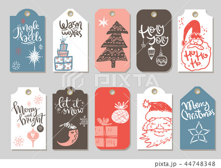 Collection of vector Christmas and New Year cute ready-to-use gi 44748348