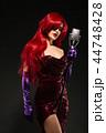 女性 マイク マイクロフォンの写真 44748428